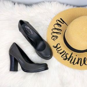 Kork Ease Simone Grey Leather Heels 7.5 38.5